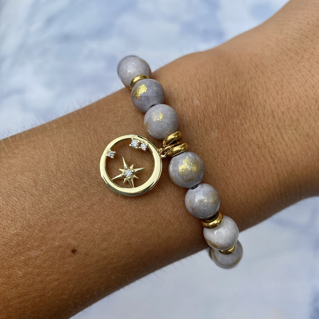 Gold Collection - Golden Grey Jade Stone Bracelet with What is Meant to Be Gold Charm