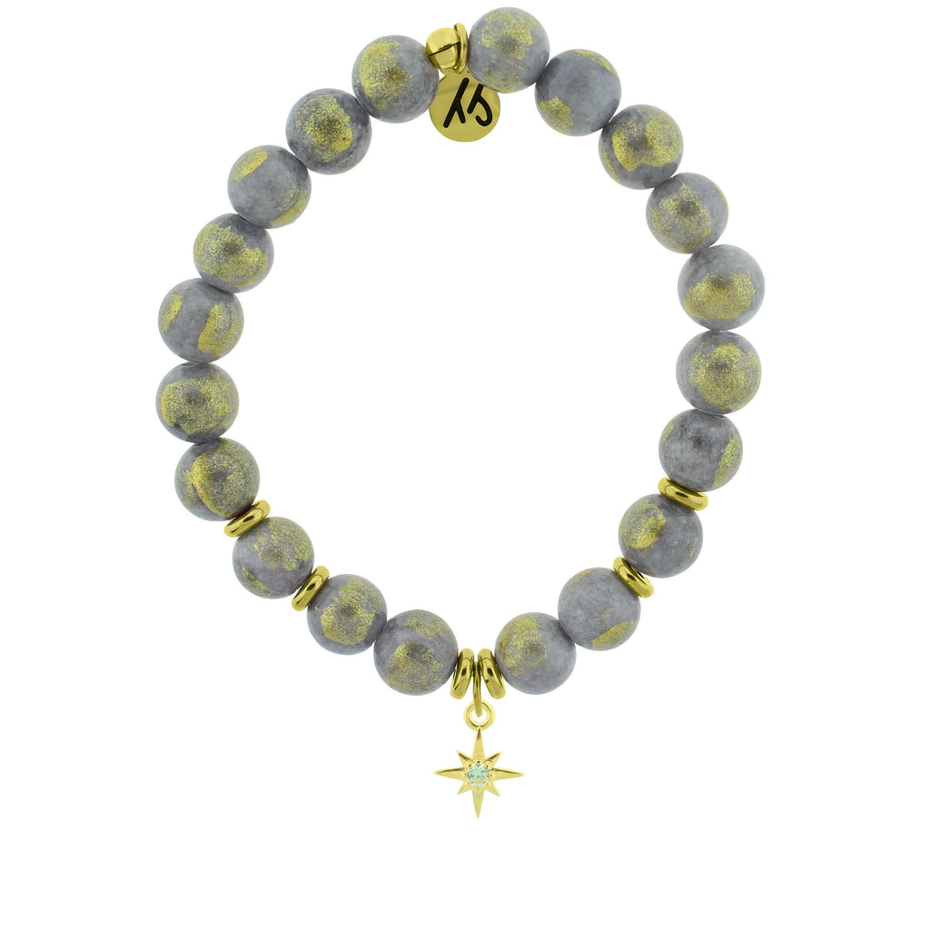 Gold Collection - Golden Grey Jade Stone Bracelet with Your Year Gold Charm