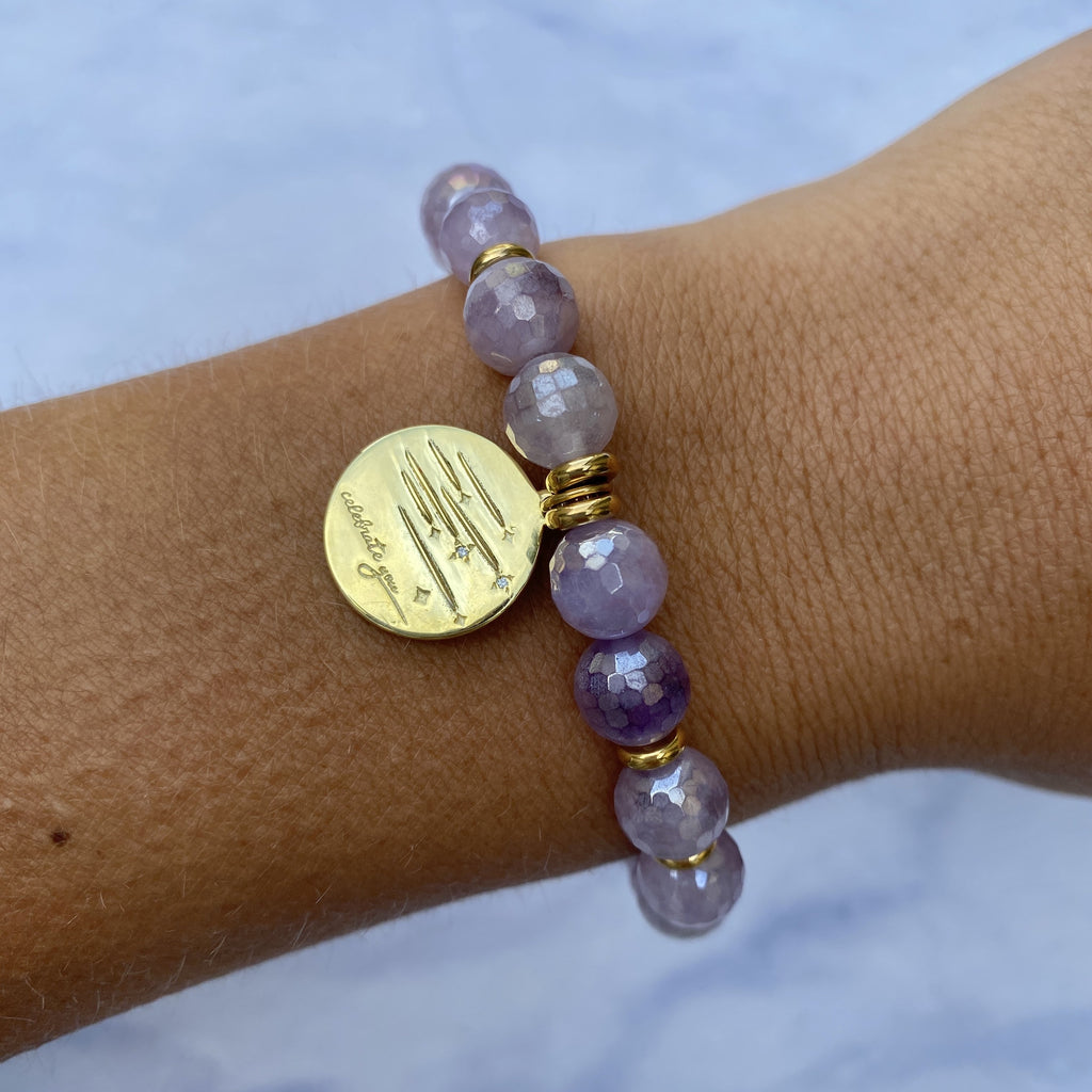 Gold Collection - Mauve Jade Stone Bracelet with Birthday Wishes Gold Charm