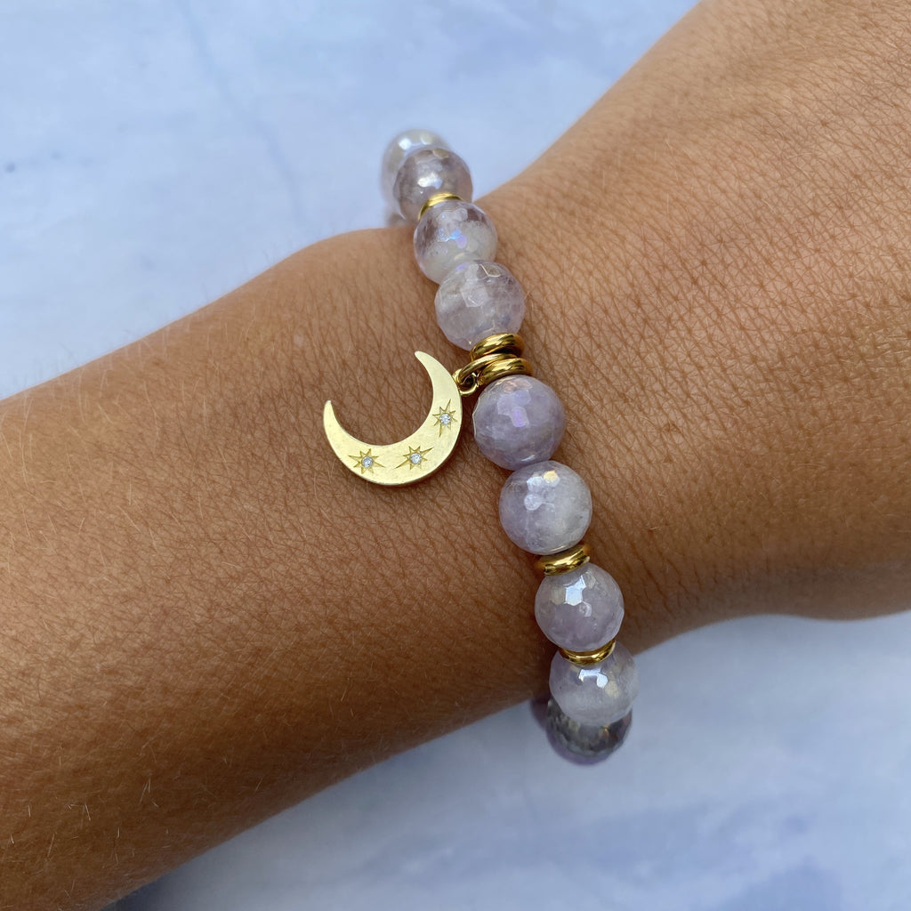Gold Collection - Mauve Jade Stone Bracelet with Friendship Stars Gold Charm