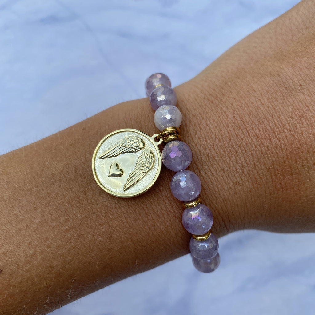 Gold Collection - Mauve Jade Stone Bracelet with Guardian Gold Charm