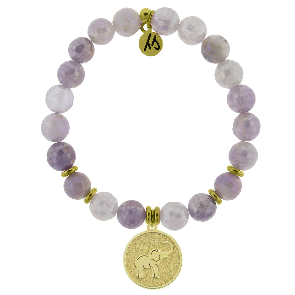 Gold Collection - Mauve Jade Stone Bracelet with Lucky Elephant Gold Charm