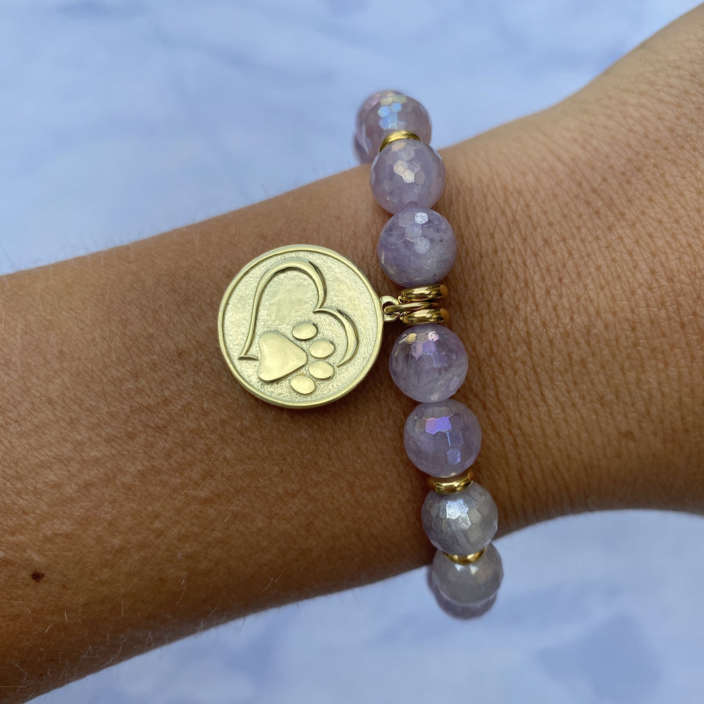Gold Collection - Mauve Jade Stone Bracelet with Paw Print Gold Charm