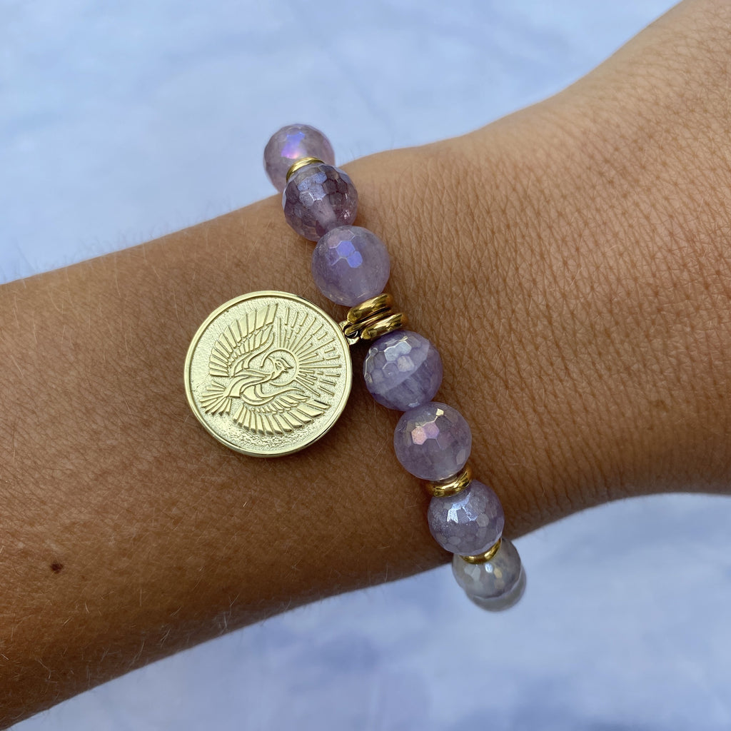 Gold Collection - Mauve Jade Stone Bracelet with Phoenix Gold Charm