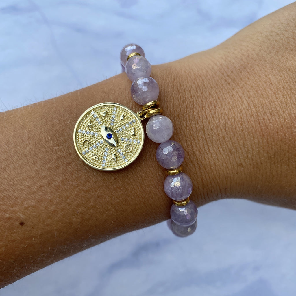 Gold Collection - Mauve Jade Stone Bracelet with Protection Gold Charm