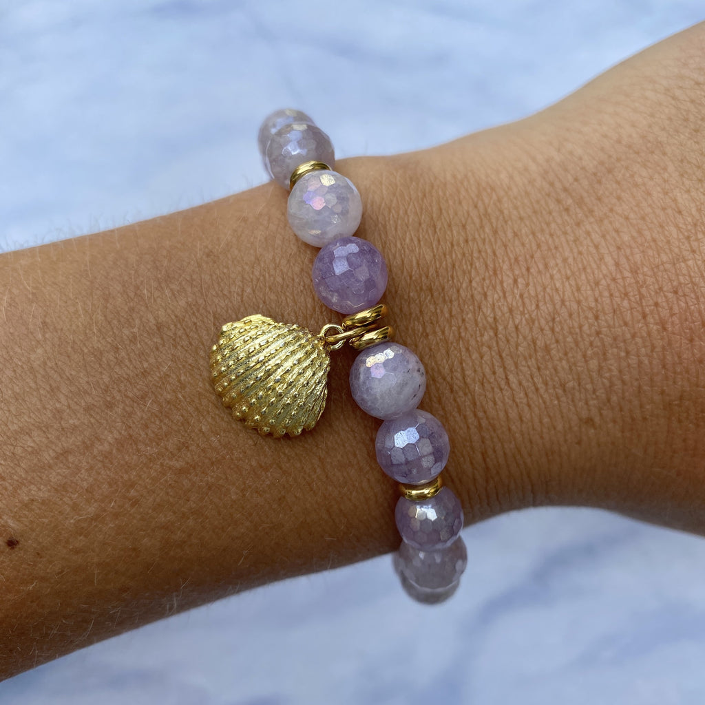 Gold Collection - Mauve Jade Stone Bracelet with Seashell Gold Charm