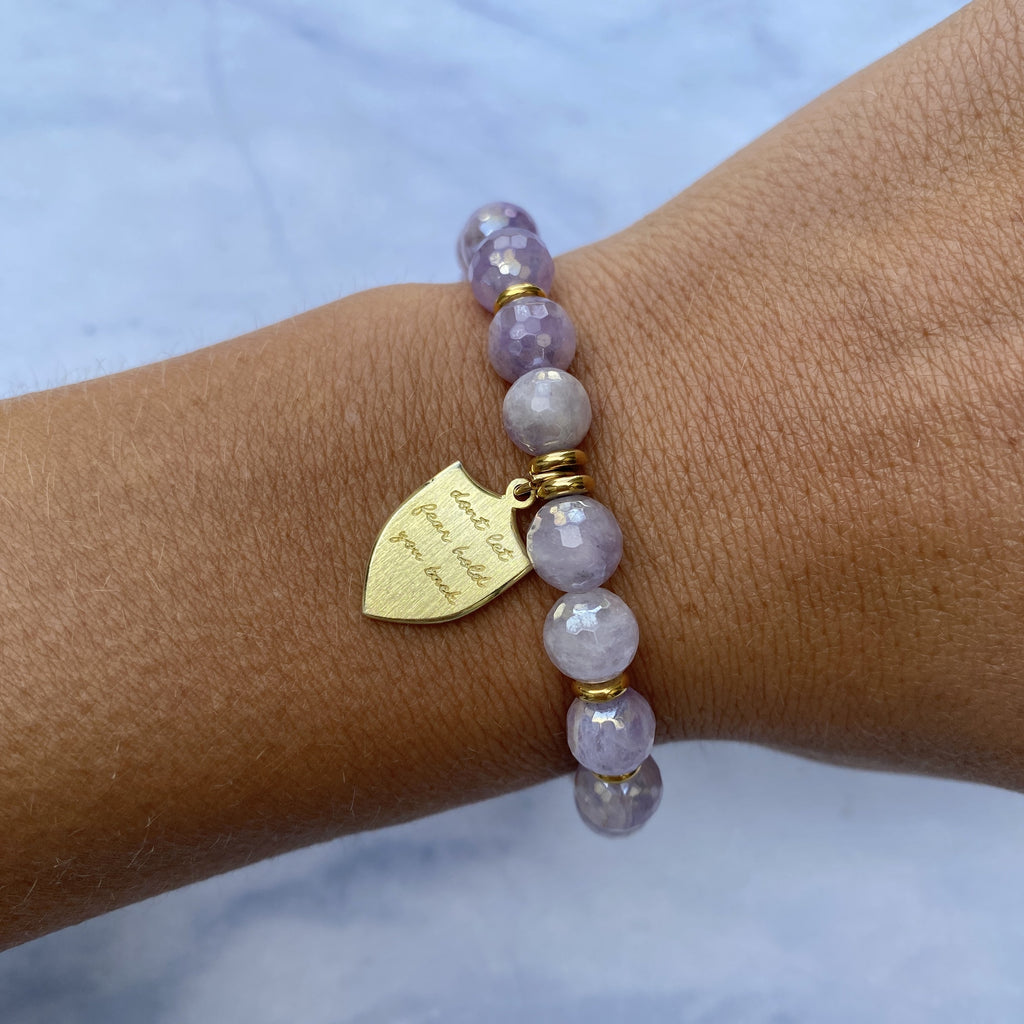 Gold Collection - Mauve Jade Stone Bracelet with Shield of Strength Gold Charm