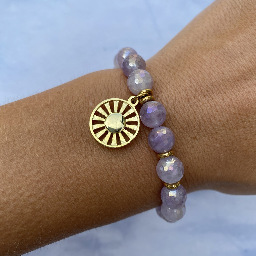 Gold Collection - Mauve Jade Stone Bracelet with Sun Gold Charm