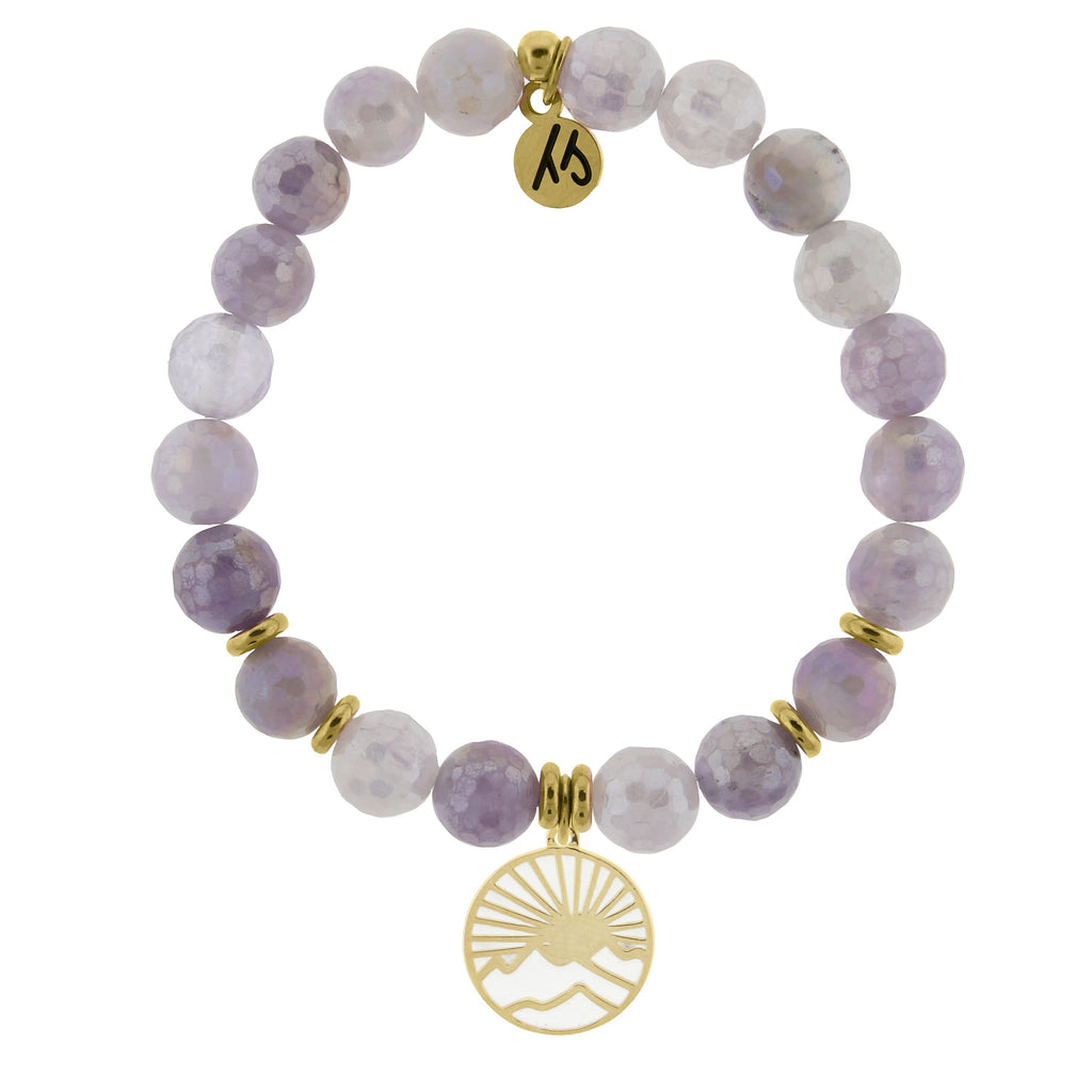 Gold Collection - Mauve Jade Stone Bracelet with Sunrise Gold Charm