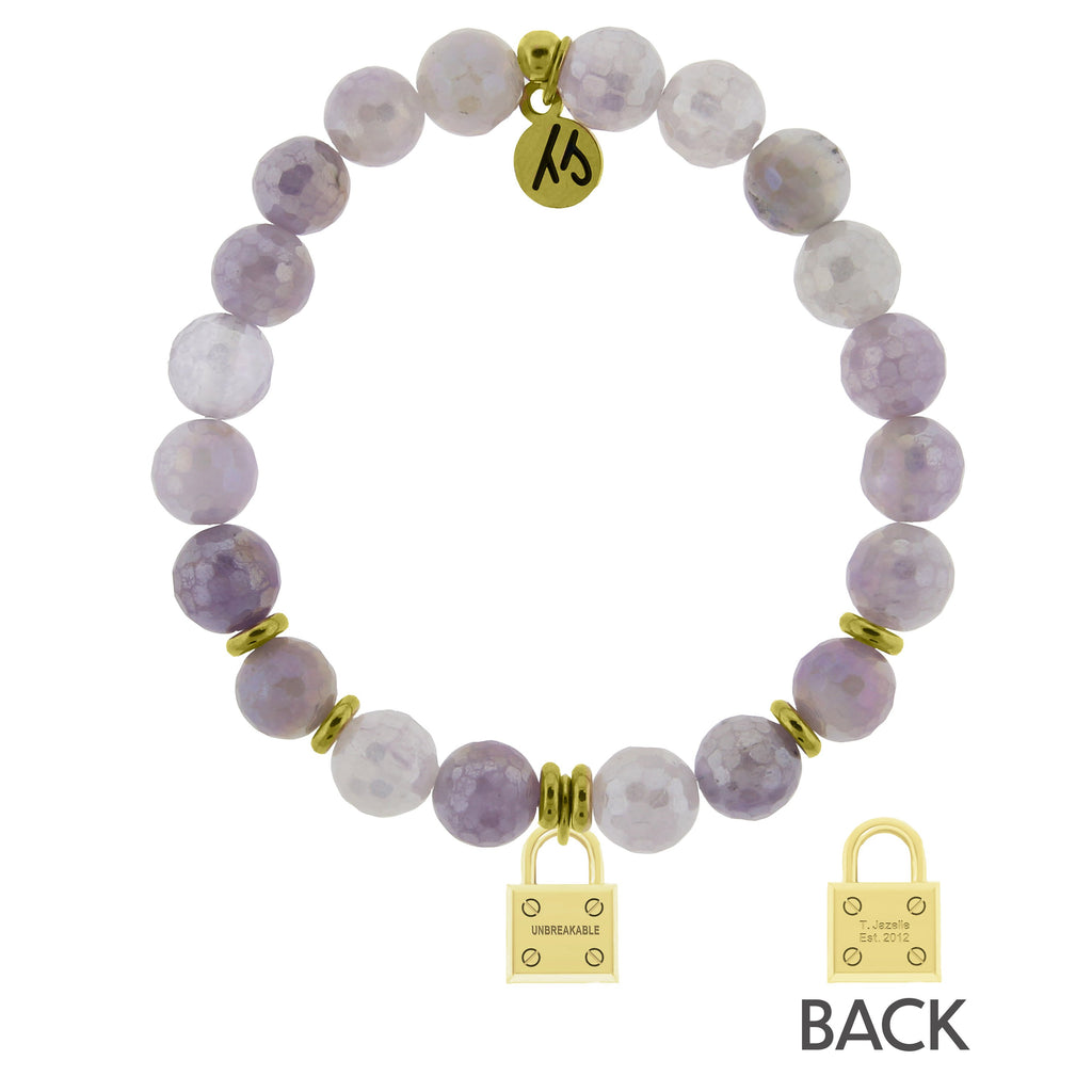 Gold Collection - Mauve Jade Stone Bracelet with Unbreakable Gold Charm