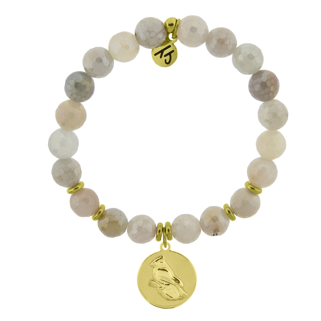 Gold Collection - Moonstone Stone Bracelet with Cardinal Gold Charm