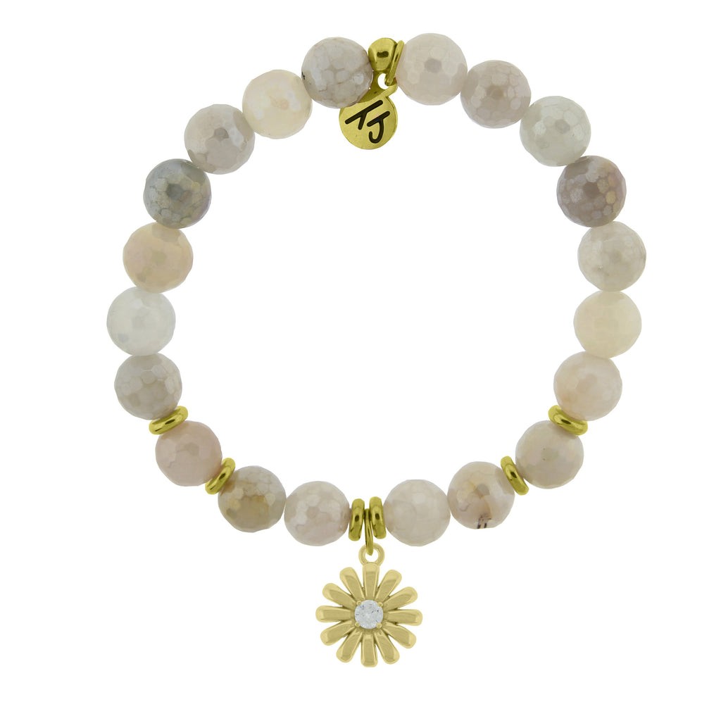 Gold Collection - Moonstone Stone Bracelet with Daisy Gold Charm