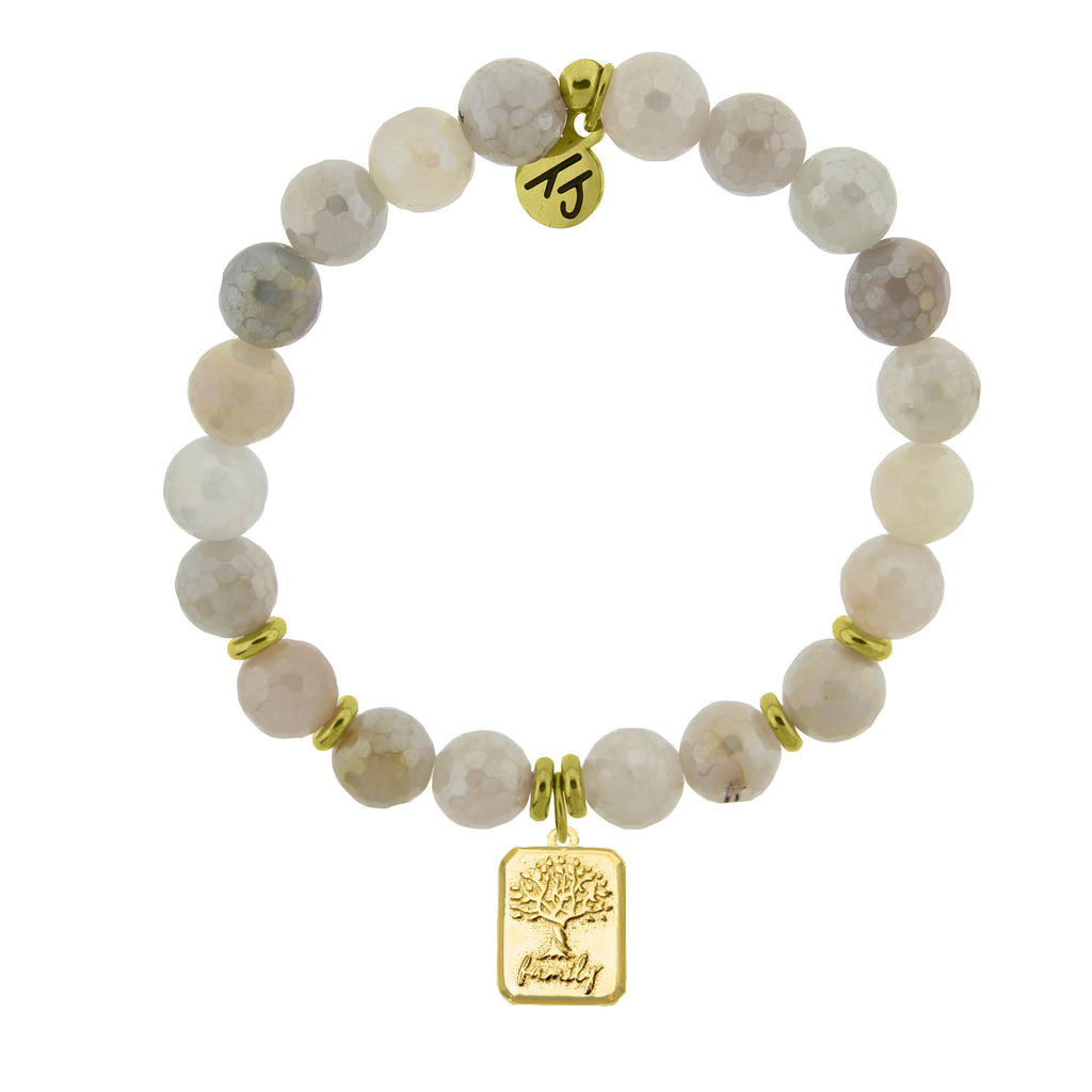 Gold Collection - Moonstone Stone Bracelet with Family Tree Gold Charm