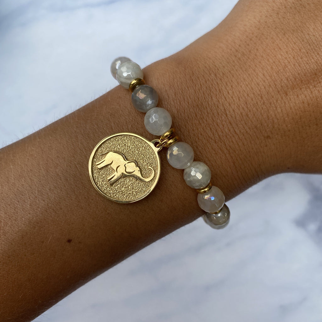 Gold Collection - Moonstone Stone Bracelet with Lucky Elephant Gold Charm