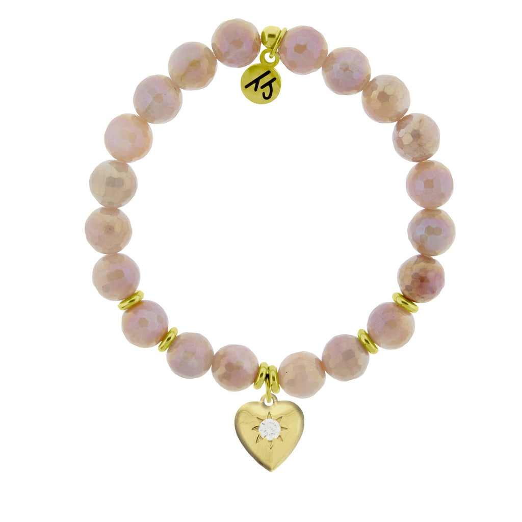 Gold Collection - Moonstone Stone Bracelet with Orange Moonstone Gold Charm