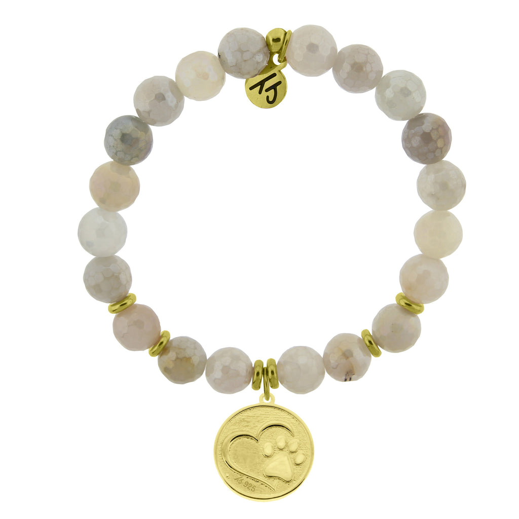 Gold Collection - Moonstone Stone Bracelet with Paw Print Gold Charm