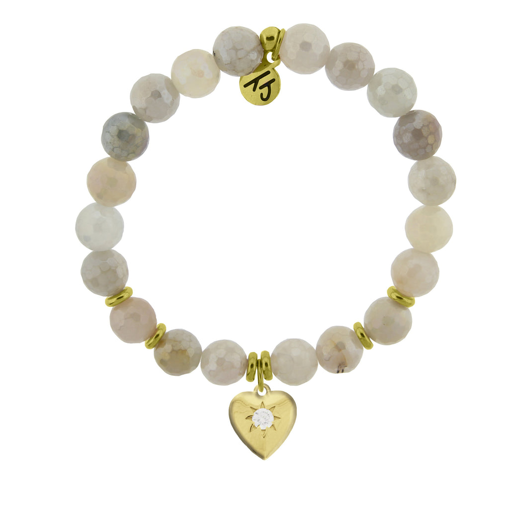 Gold Collection - Moonstone Stone Bracelet with Self Love Gold Charm
