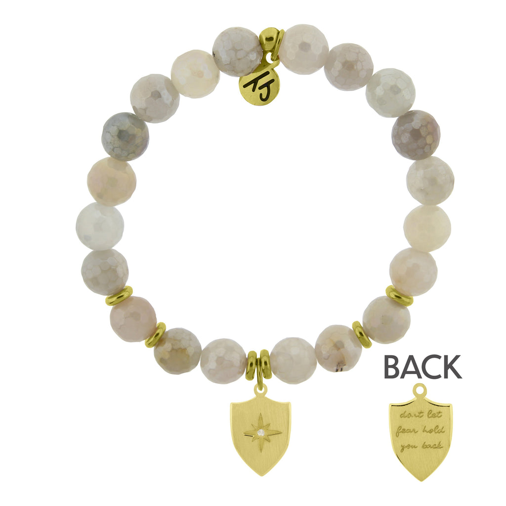 Gold Collection - Moonstone Stone Bracelet with Shield of Strength Gold Charm