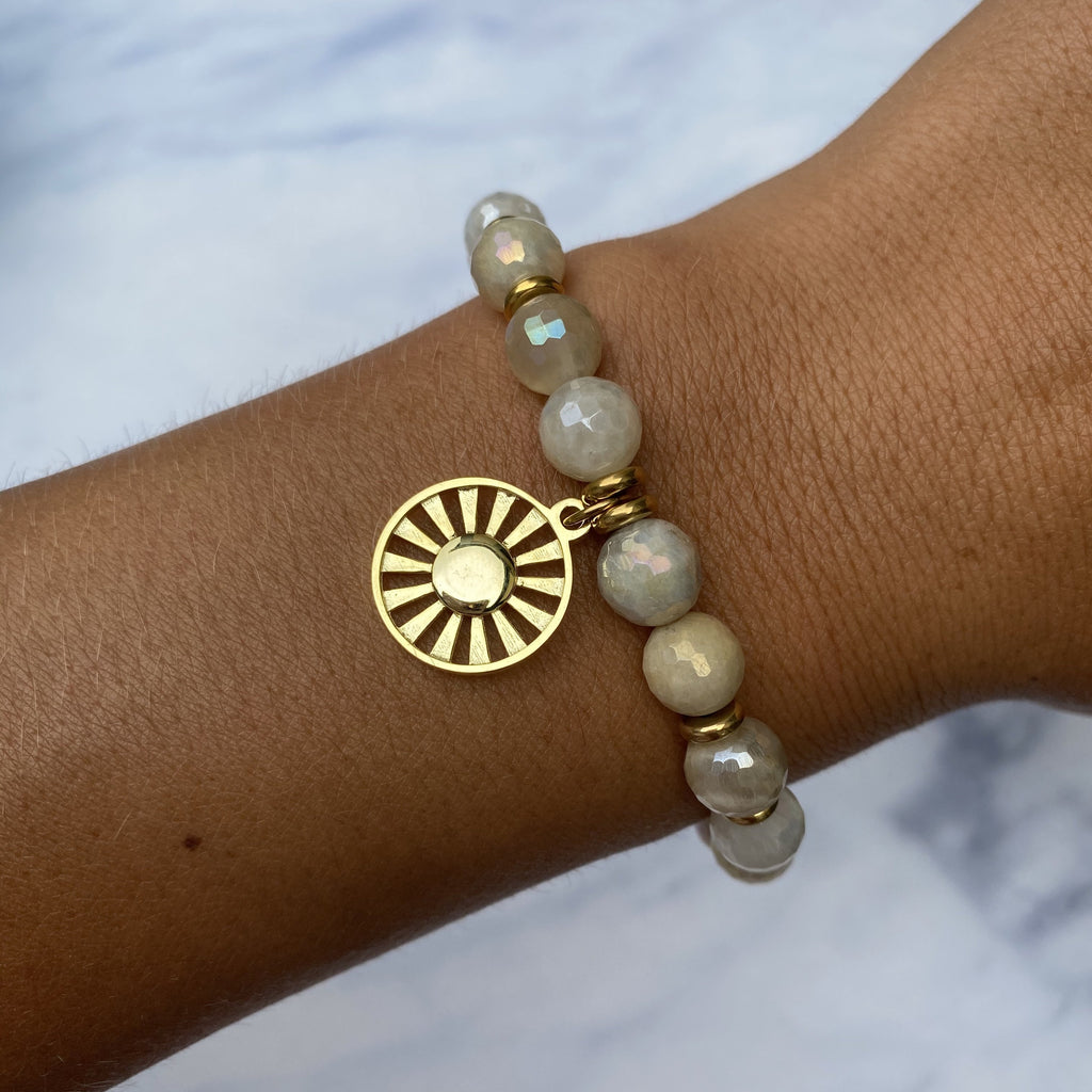 Gold Collection - Moonstone Stone Bracelet with Sun Gold Charm