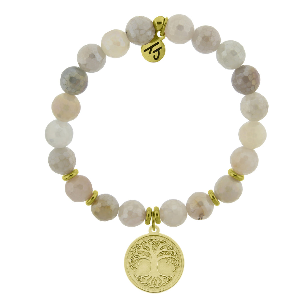 Gold Collection - Moonstone Stone Bracelet with Tree of Life Gold Charm