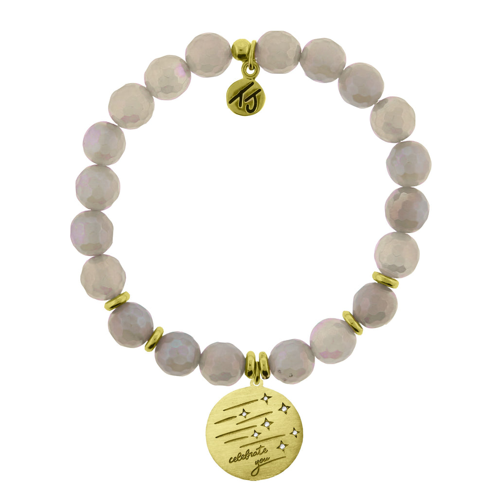 Gold Collection - Mystic Grey Agate Stone Bracelet with Birthday Wishes Gold Charm