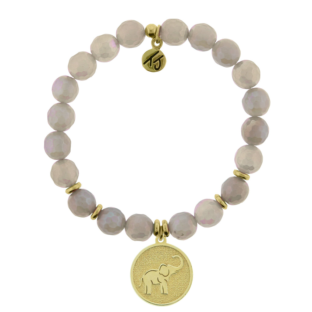 Gold Collection - Mystic Grey Agate Stone Bracelet with Lucky Elephant Gold Charm