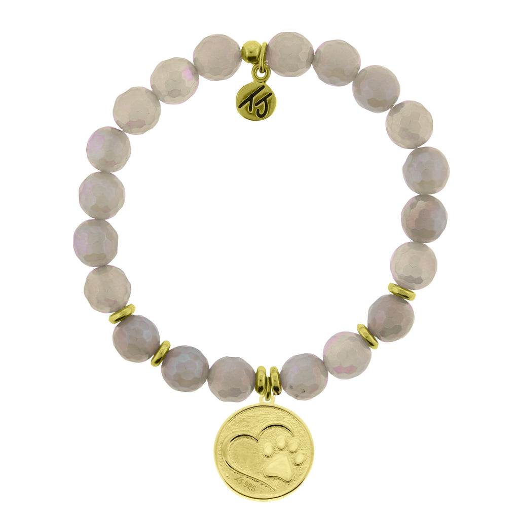 Gold Collection - Mystic Grey Agate Stone Bracelet with Paw Print Gold Charm