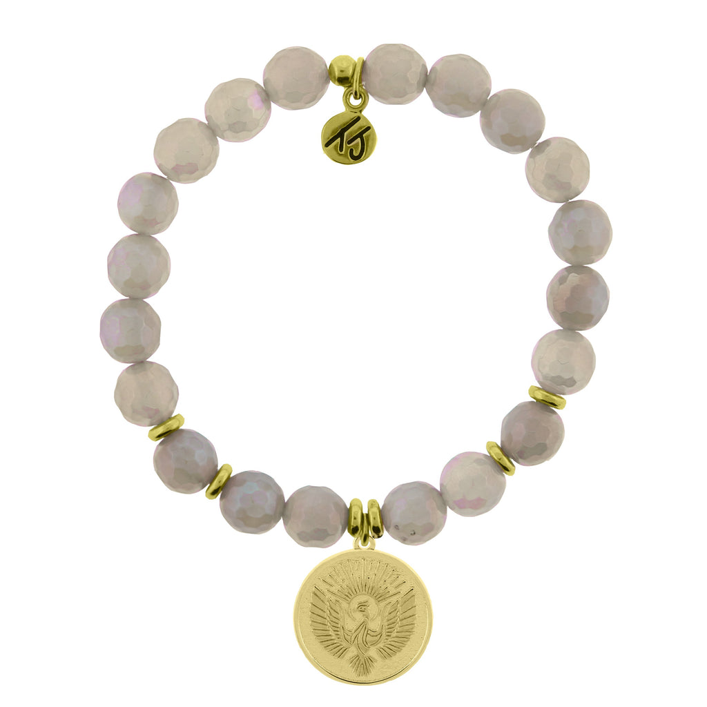 Gold Collection - Mystic Grey Agate Stone Bracelet with Phoenix Gold Charm