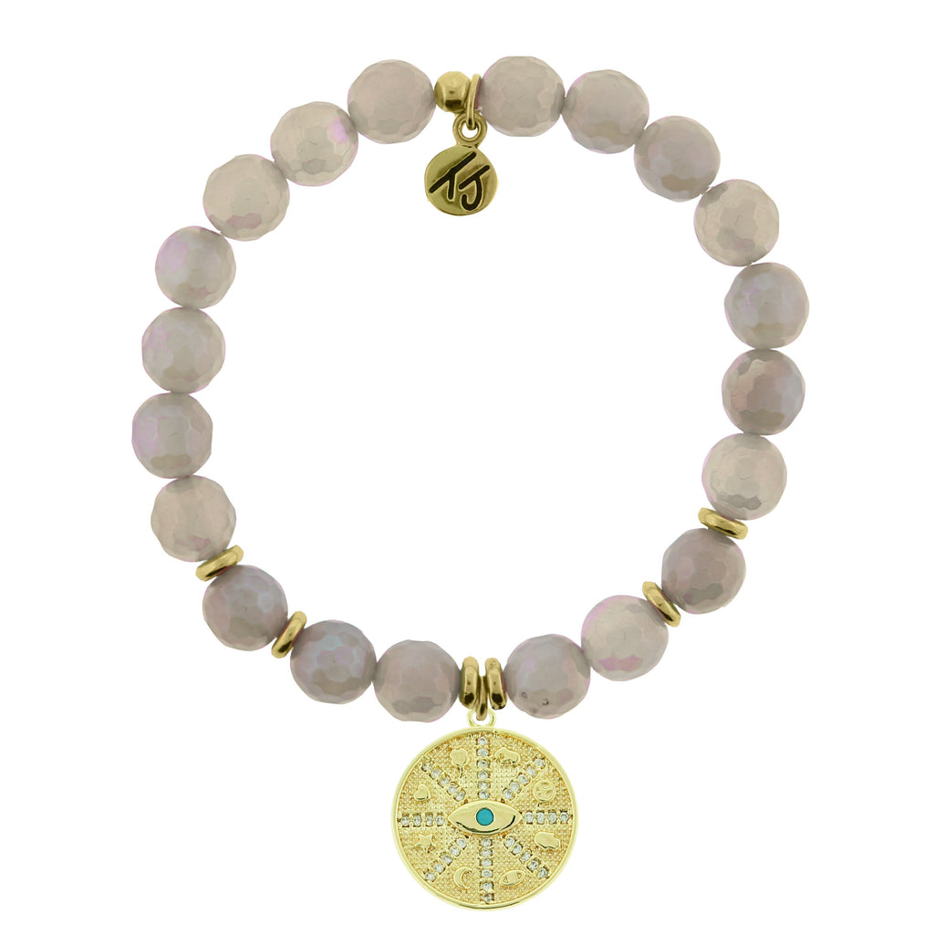 Gold Collection - Mystic Grey Agate Stone Bracelet with Protection Gold Charm