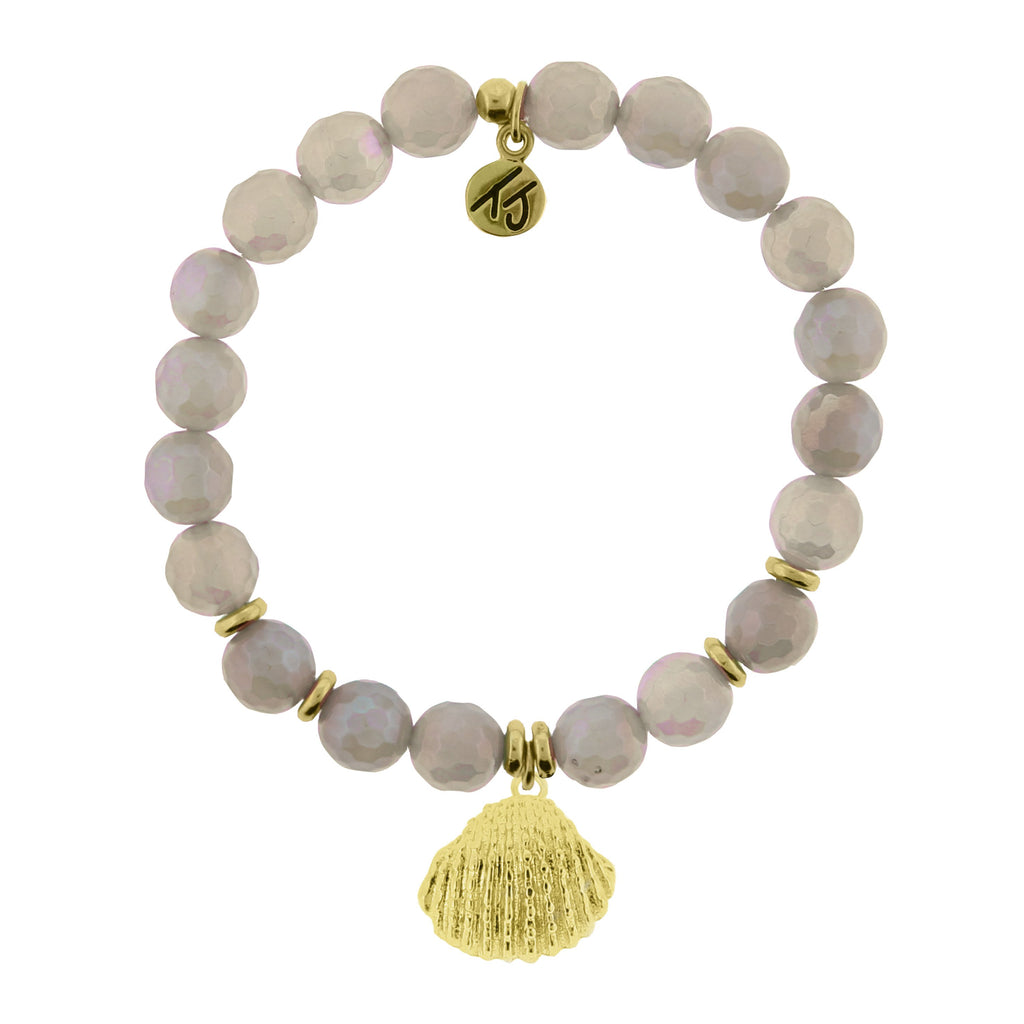 Gold Collection - Mystic Grey Agate Stone Bracelet with Seashell Gold Charm