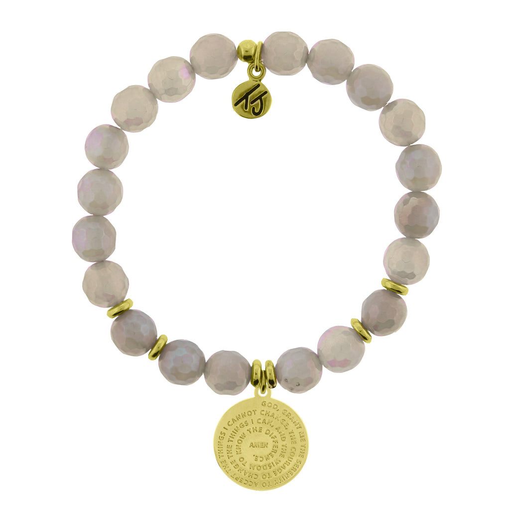Gold Collection - Mystic Grey Agate Stone Bracelet with Serenity Prayer Gold Charm