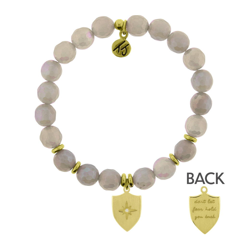 Gold Collection - Mystic Grey Agate Stone Bracelet with Shield of Strength Gold Charm