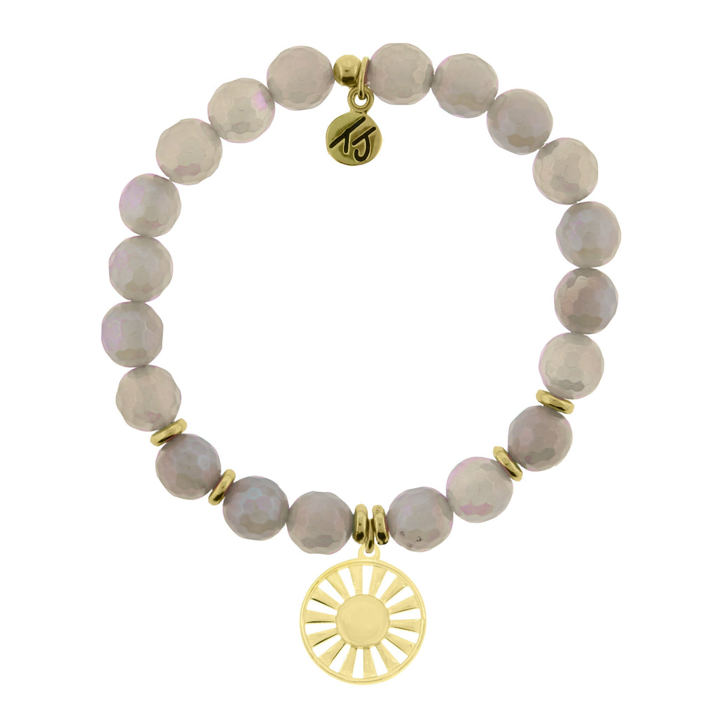 Gold Collection - Mystic Grey Agate Stone Bracelet with Sun Gold Charm