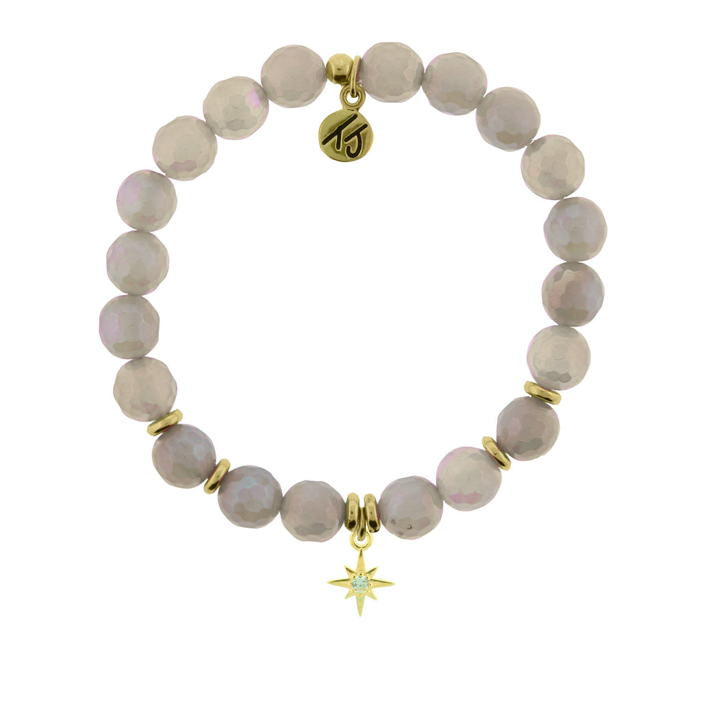 Gold Collection - Mystic Grey Agate Stone Bracelet with Your Year Gold Charm