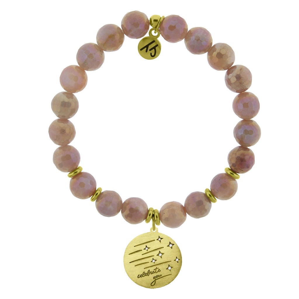 Gold Collection - Orange Moonstone Stone Bracelet with Birthday Wishes Gold Charm
