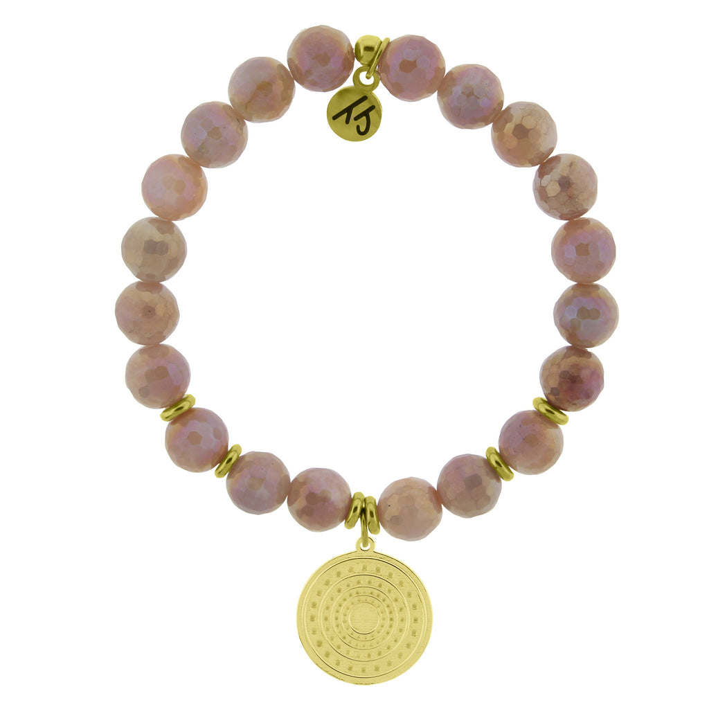 Gold Collection - Orange Moonstone Stone Bracelet with Family Circle Gold Charm