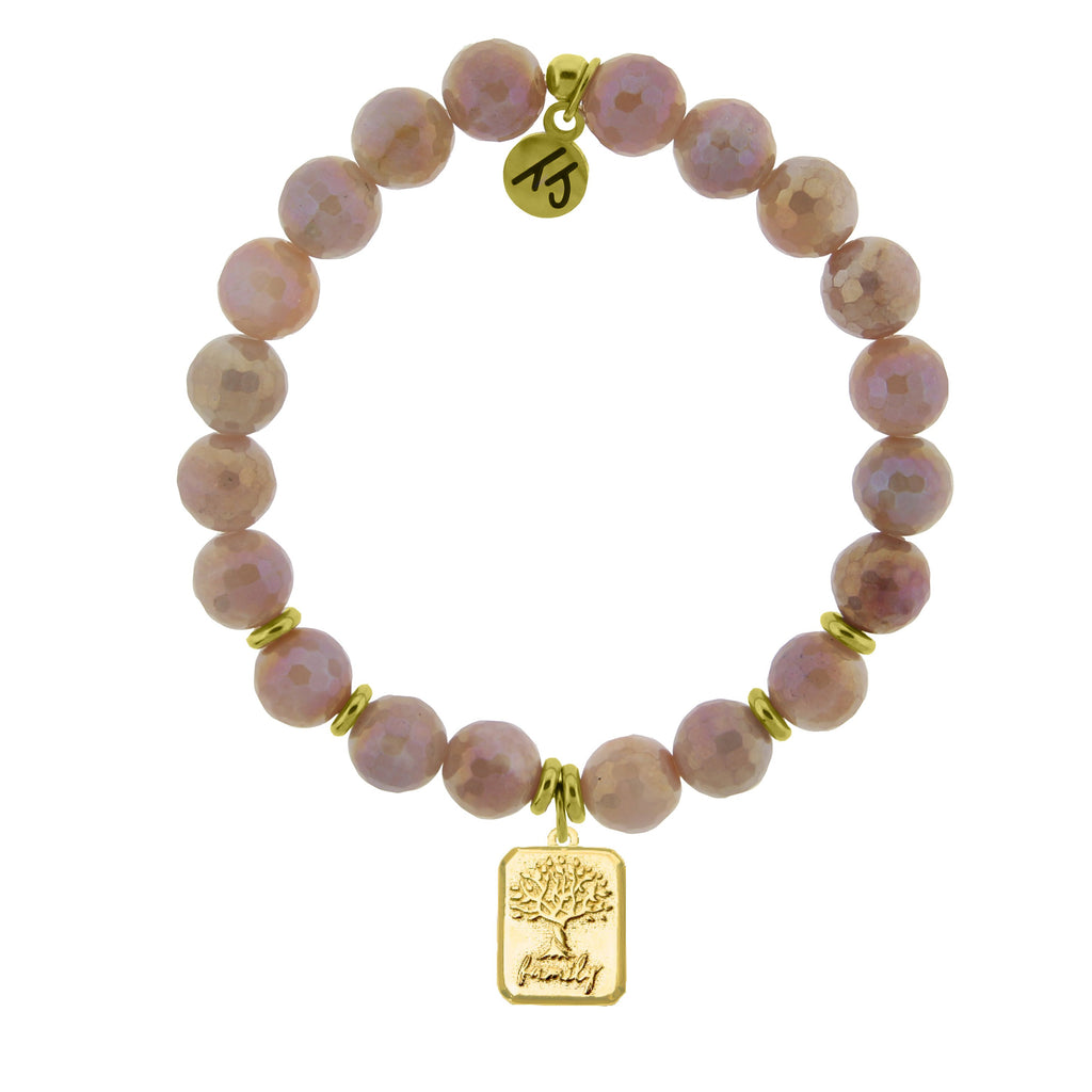 Gold Collection - Orange Moonstone Stone Bracelet with Family Tree Gold Charm