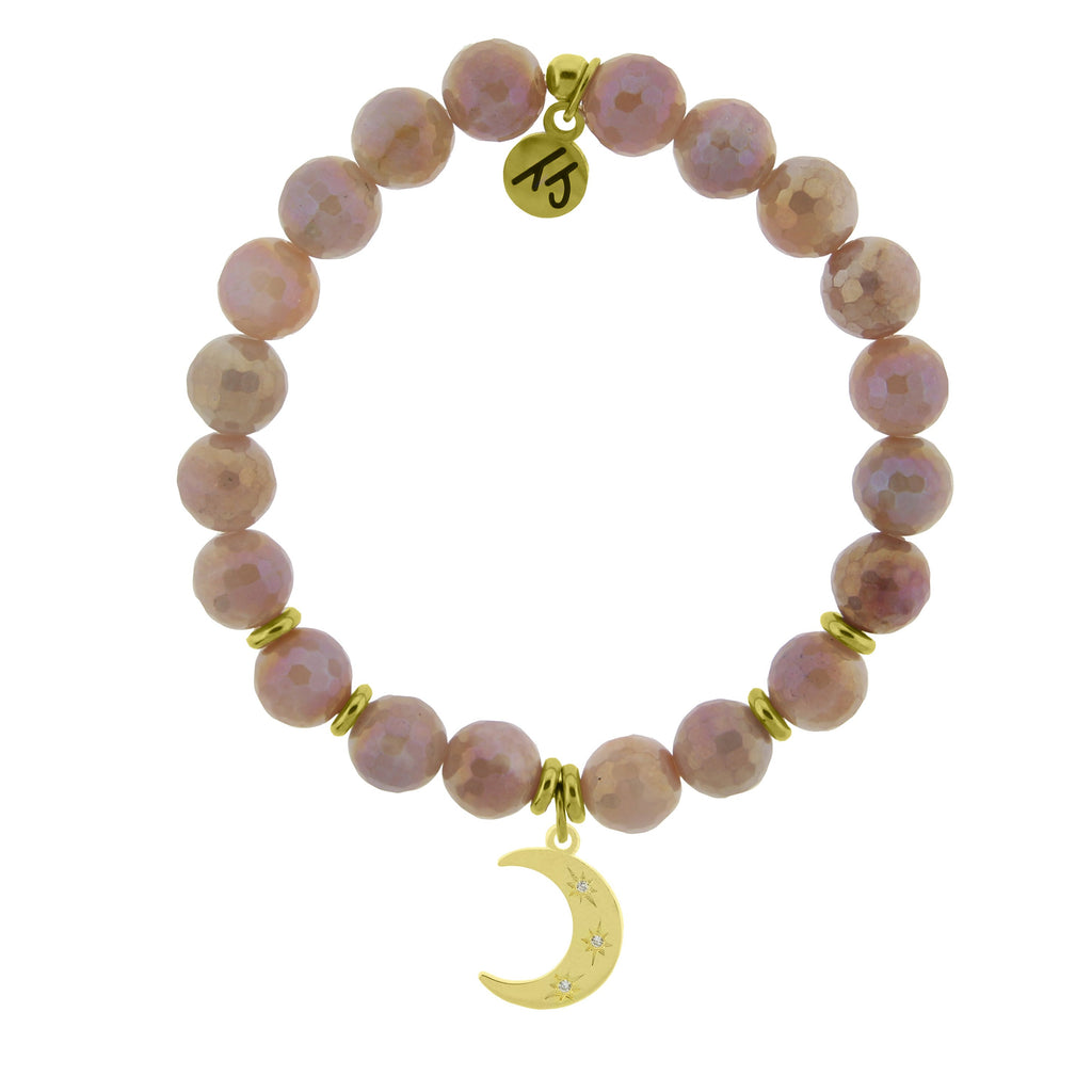 Gold Collection - Orange Moonstone Stone Bracelet with Friendship Stars Gold Charm