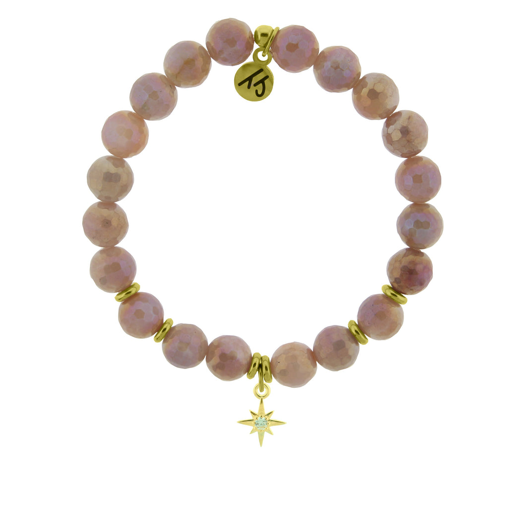 Gold Collection - Orange Moonstone Stone Bracelet with It's Your Year Gold Charm
