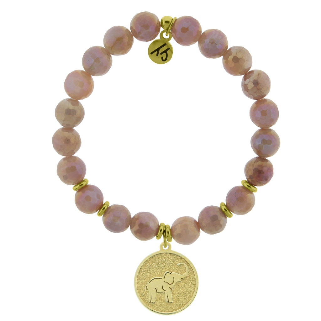 Gold Collection - Orange Moonstone Stone Bracelet with Lucky Elephant Gold Charm