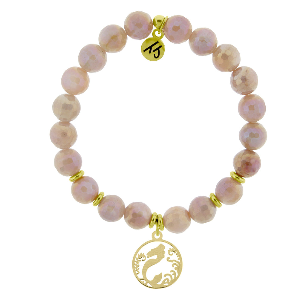 Gold Collection - Orange Moonstone Stone Bracelet with Mermaid Gold Charm