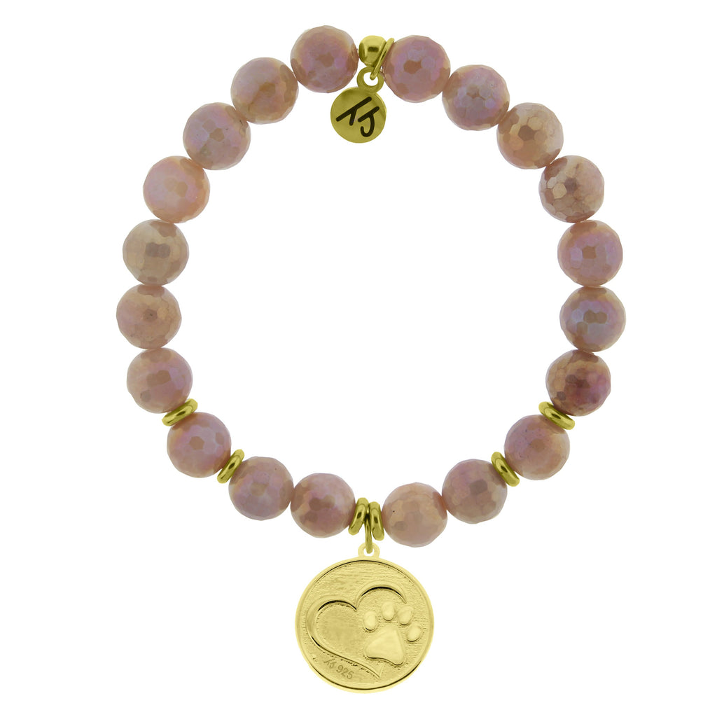 Gold Collection - Orange Moonstone Stone Bracelet with Paw Print Gold Charm