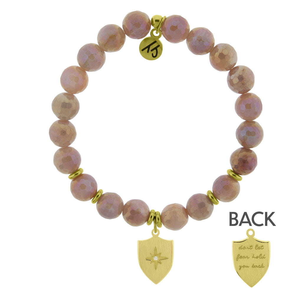 Gold Collection - Orange Moonstone Stone Bracelet with Shield of Strength Gold Charm