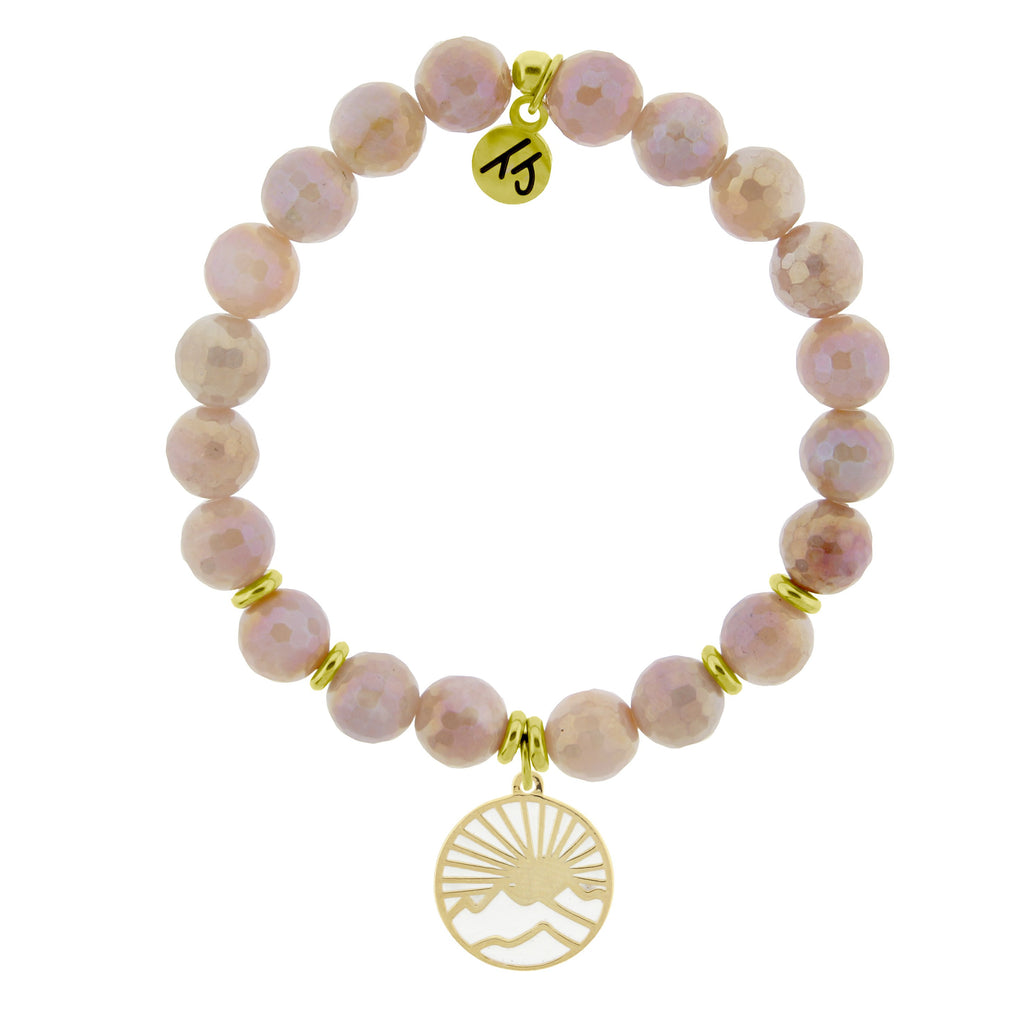 Gold Collection - Orange Moonstone Stone Bracelet with Sunrise Gold Charm