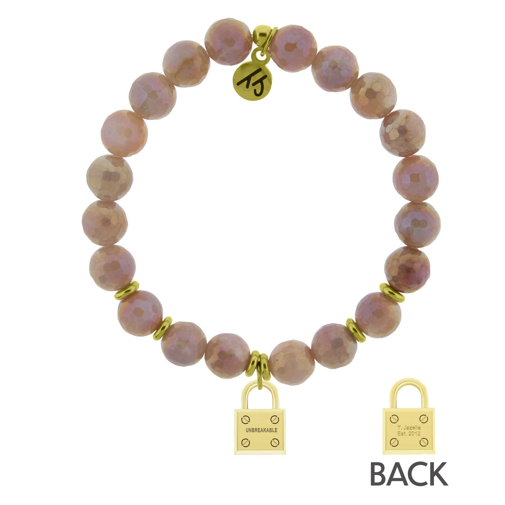 Gold Collection - Orange Moonstone Stone Bracelet with Unbreakable Gold Charm