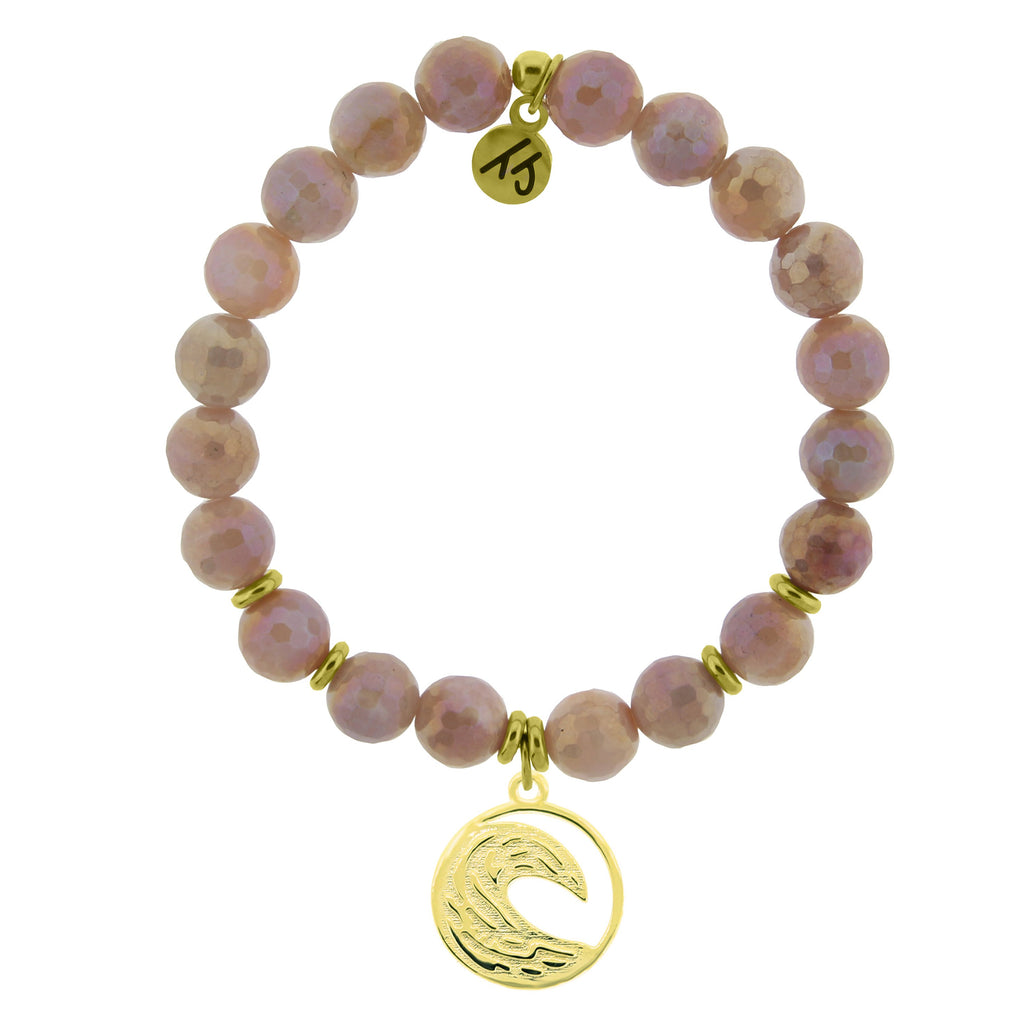 Gold Collection - Orange Moonstone Stone Bracelet with Wave Gold Charm