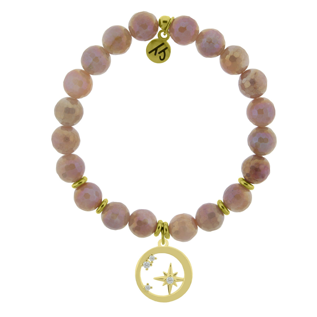 Gold Collection - Orange Moonstone Stone Bracelet with What is Meant to Be Gold Charm