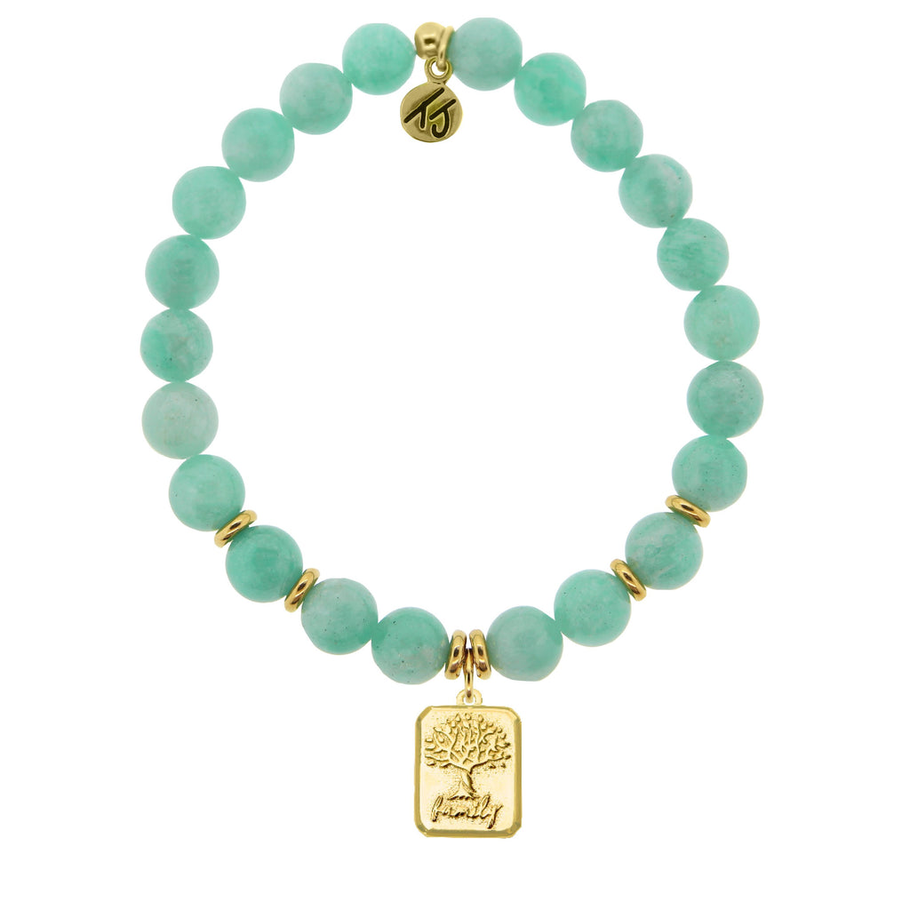 Gold Collection - Peruvian Amazonite Stone Bracelet with Family Tree Gold Charm