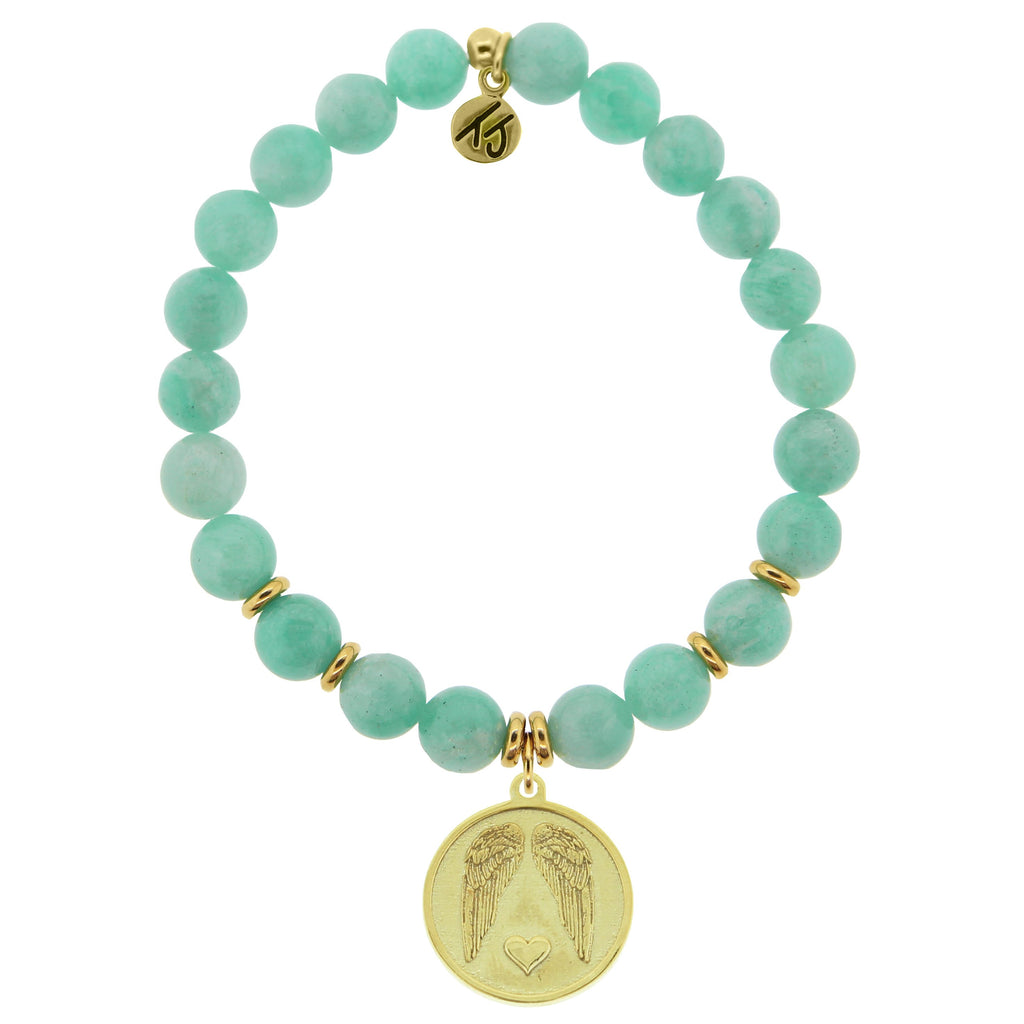 Gold Collection - Peruvian Amazonite Stone Bracelet with Guardian Gold Charm