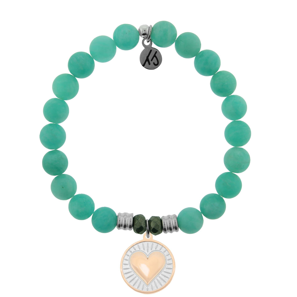 Gold Collection - Peruvian Amazonite Stone Bracelet with Heart of Gold Sterling Silver Charm